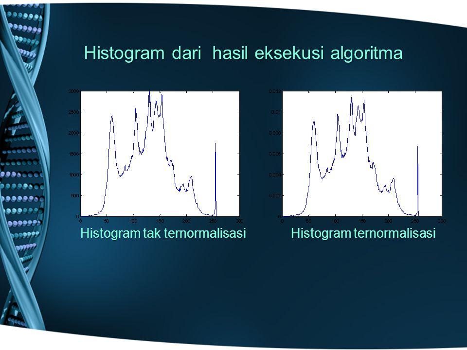Histogram dari hasil eksekusi algoritma Histogram tak ternormalisasi Histogram ternormalisasi