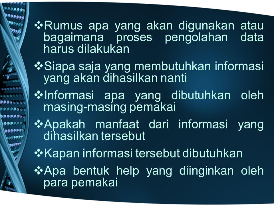   Rumus apa yang akan digunakan atau bagaimana proses pengolahan data harus dilakukan   Siapa saja yang membutuhkan informasi yang akan dihasilkan nanti   Informasi apa yang dibutuhkan oleh masing-masing pemakai   Apakah manfaat dari informasi yang dihasilkan tersebut   Kapan informasi tersebut dibutuhkan   Apa bentuk help yang diinginkan oleh para pemakai