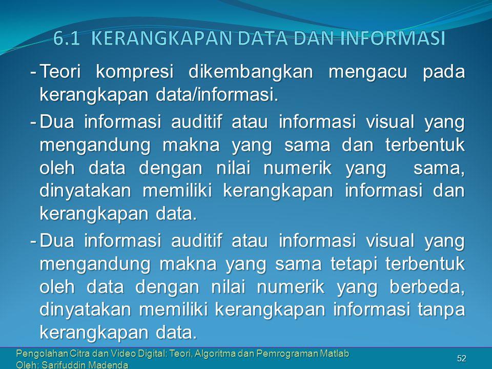 Pengolahan Citra dan Video Digital: Teori, Algoritma dan Pemrograman Matlab Oleh: Sarifuddin Madenda 52 -Teori kompresi dikembangkan mengacu pada kerangkapan data/informasi.