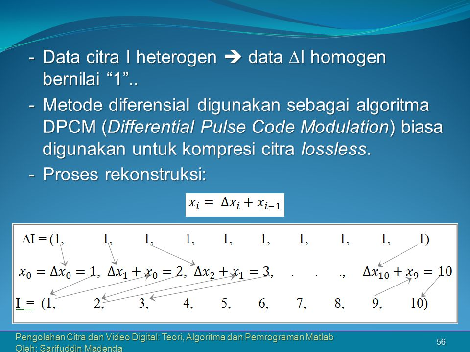 Pengolahan Citra dan Video Digital: Teori, Algoritma dan Pemrograman Matlab Oleh: Sarifuddin Madenda 56 -Data citra I heterogen  data  I homogen bernilai 1 ..
