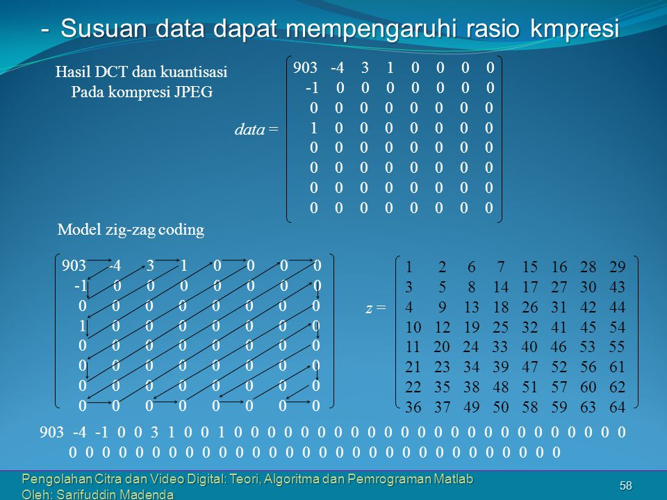 Pengolahan Citra dan Video Digital: Teori, Algoritma dan Pemrograman Matlab Oleh: Sarifuddin Madenda 58 -Susuan data dapat mempengaruhi rasio kmpresi 903 -4 3 1 0 0 0 0 -1 0 0 0 0 0 0 0 0 0 0 0 0 0 0 0 1 0 0 0 0 0 0 0 0 0 0 0 0 0 0 0 1 2 6 7 15 16 28 29 3 5 8 14 17 27 30 43 4 9 13 18 26 31 42 44 10 12 19 25 32 41 45 54 11 20 24 33 40 46 53 55 21 23 34 39 47 52 56 61 22 35 38 48 51 57 60 62 36 37 49 50 58 59 63 64 z = 903 -4 3 1 0 0 0 0 -1 0 0 0 0 0 0 0 0 0 0 0 0 0 0 0 1 0 0 0 0 0 0 0 0 0 0 0 0 0 0 0 Model zig-zag coding Hasil DCT dan kuantisasi Pada kompresi JPEG 903 -4 -1 0 0 3 1 0 0 1 0 0 0 0 0 0 0 0 0 0 0 0 0 0 0 0 0 0 0 0 0 0 0 0 0 0 0 0 0 0 0 0 0 0 0 0 0 0 0 0 0 0 0 0 0 0 0 0 0 0 0 0 0 0 data =