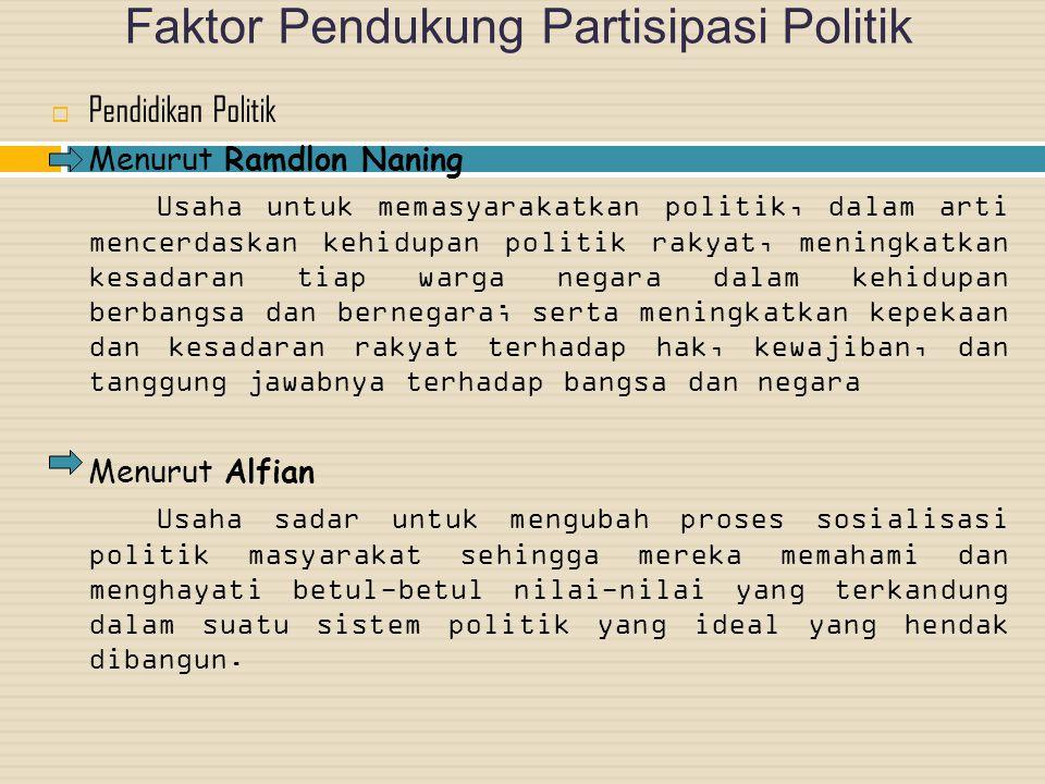 Faktor Pendukung Partisipasi Politik PPendidikan Politik Menurut Ramdlon Naning Usaha untuk memasyarakatkan politik, dalam arti mencerdaskan kehidup