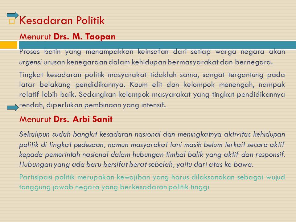 KKesadaran Politik Menurut Drs. M. Taopan Proses batin yang menampakkan keinsafan dari setiap warga negara akan urgensi urusan kenegaraan dalam kehi