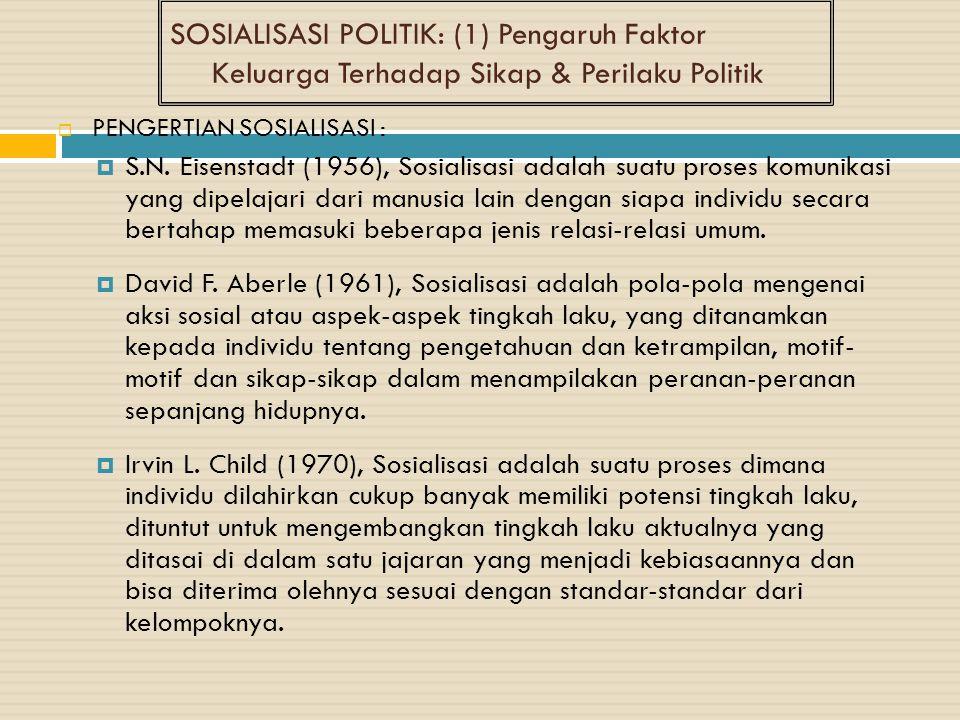 SOSIALISASI POLITIK: (1) Pengaruh Faktor Keluarga Terhadap Sikap & Perilaku Politik  PENGERTIAN SOSIALISASI :  S.N. Eisenstadt (1956), Sosialisasi a