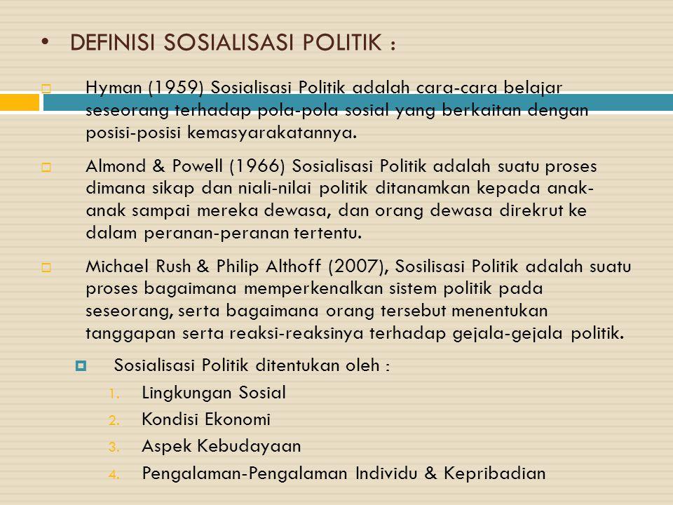 DEFINISI SOSIALISASI POLITIK :  Hyman (1959) Sosialisasi Politik adalah cara-cara belajar seseorang terhadap pola-pola sosial yang berkaitan dengan posisi-posisi kemasyarakatannya.