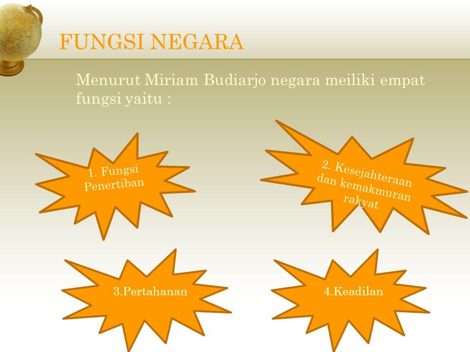 FUNGSI NEGARA Menurut Miriam Budiarjo negara meiliki empat fungsi yaitu : 2.