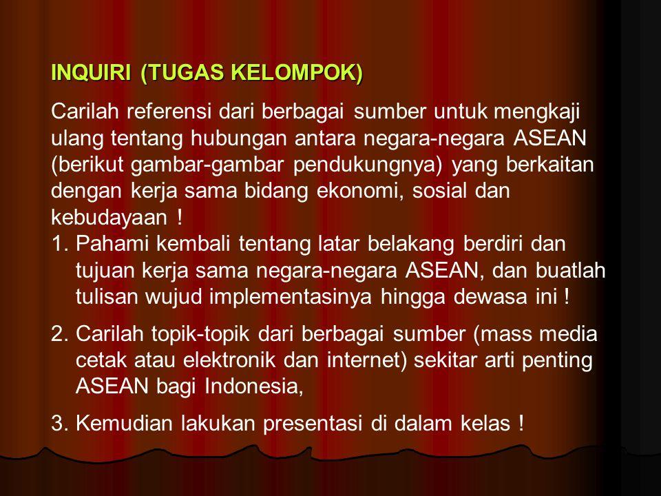INQUIRI (TUGAS KELOMPOK) Carilah referensi dari berbagai sumber untuk mengkaji ulang tentang hubungan antara negara-negara ASEAN (berikut gambar-gamba