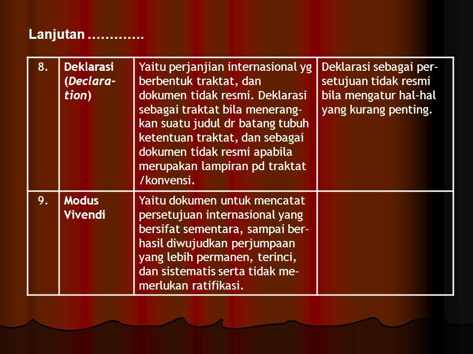 8.Deklarasi (Declara- tion) Yaitu perjanjian internasional yg berbentuk traktat, dan dokumen tidak resmi. Deklarasi sebagai traktat bila menerang- kan