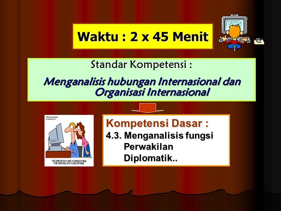 Waktu : 2 x 45 Menit Standar Kompetensi : Menganalisis hubungan Internasional dan Organisasi Internasional Kompetensi Dasar : 4.3. Menganalisis fungsi