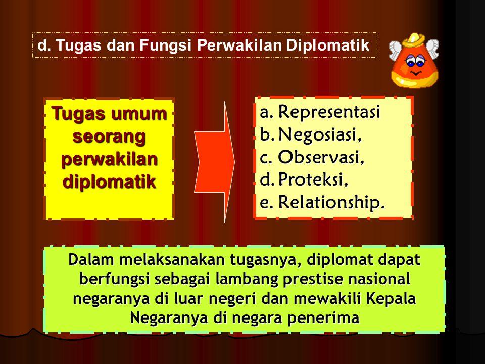 a.Representasi b.Negosiasi, c.Observasi, d.Proteksi, e.Relationship. d.Tugas dan Fungsi Perwakilan Diplomatik Tugas umum seorang perwakilan diplomatik