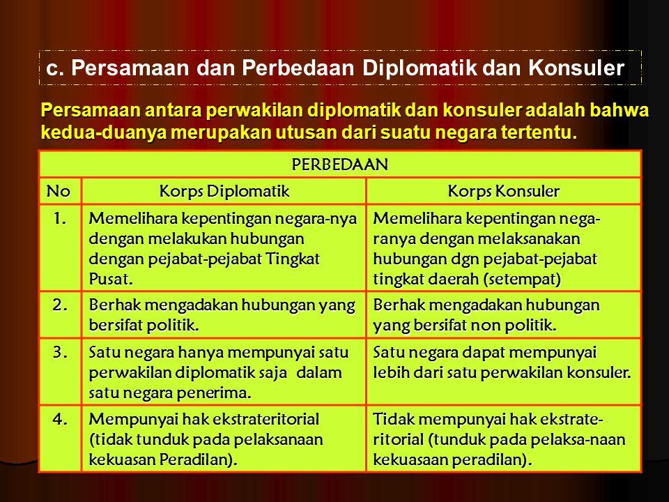 c.Persamaan dan Perbedaan Diplomatik dan Konsuler PERBEDAAN No Korps Diplomatik Korps Konsuler 1. Memelihara kepentingan negara-nya dengan melakukan h