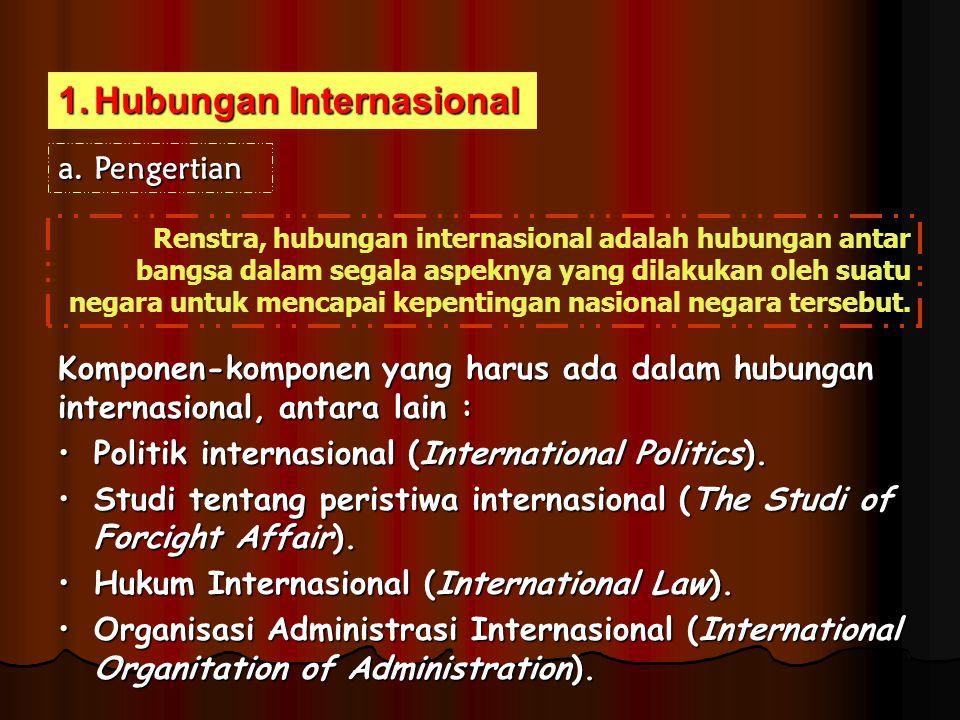 1.Hubungan Internasional a.Pengertian Renstra, hubungan internasional adalah hubungan antar bangsa dalam segala aspeknya yang dilakukan oleh suatu neg