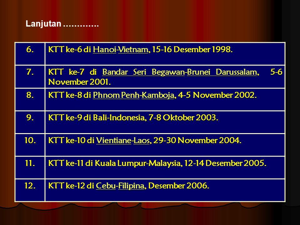 6. KTT ke-6 di Hanoi-Vietnam, 15-16 Desember 1998. HanoiVietnamHanoiVietnam 7. KTT ke-7 di Bandar Seri Begawan-Brunei Darussalam, 5-6 November 2001. B