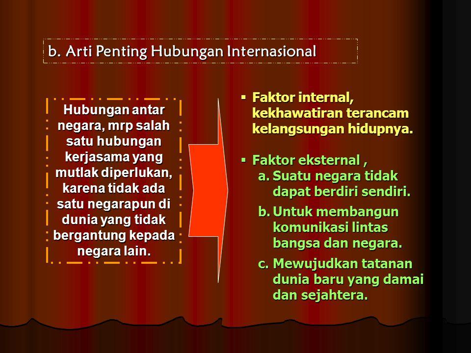 b.Arti Penting Hubungan Internasional Hubungan antar negara, mrp salah satu hubungan kerjasama yang mutlak diperlukan, karena tidak ada satu negarapun