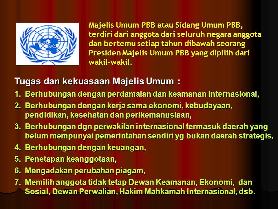 Majelis Umum PBB atau Sidang Umum PBB, terdiri dari anggota dari seluruh negara anggota dan bertemu setiap tahun dibawah seorang Presiden Majelis Umum