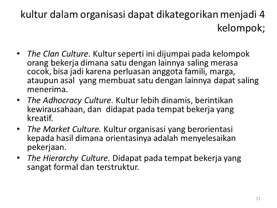 11 kultur dalam organisasi dapat dikategorikan menjadi 4 kelompok; The Clan Culture.
