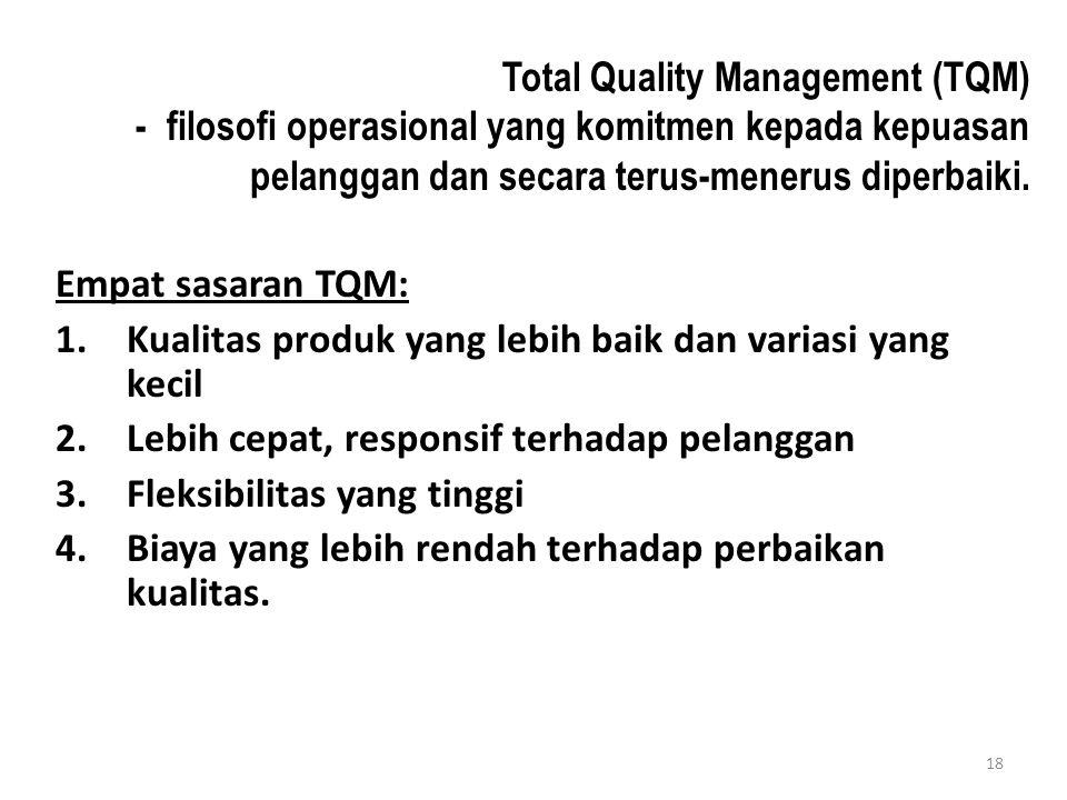 18 Total Quality Management (TQM) - filosofi operasional yang komitmen kepada kepuasan pelanggan dan secara terus-menerus diperbaiki.