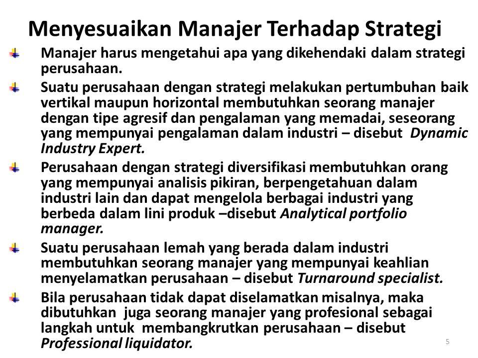 5 Menyesuaikan Manajer Terhadap Strategi Manajer harus mengetahui apa yang dikehendaki dalam strategi perusahaan.