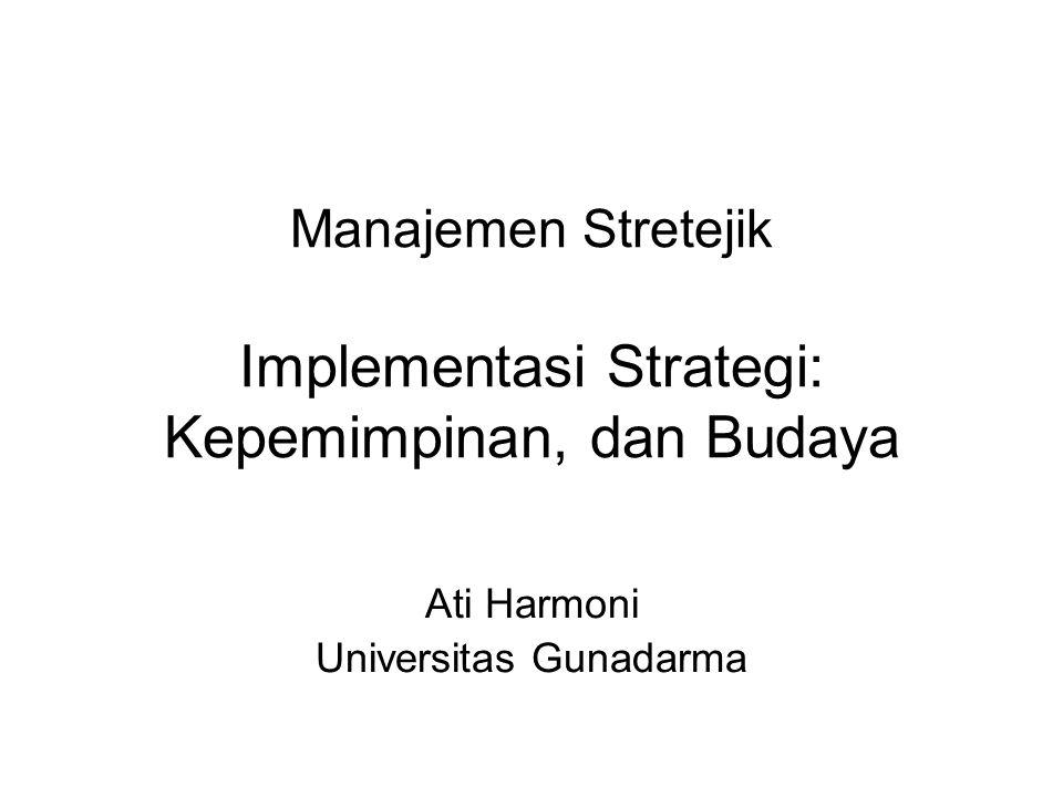 Manajemen Stretejik Implementasi Strategi: Kepemimpinan, dan Budaya Ati Harmoni Universitas Gunadarma