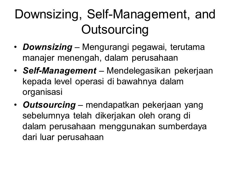 Downsizing, Self-Management, and Outsourcing Downsizing – Mengurangi pegawai, terutama manajer menengah, dalam perusahaan Self-Management – Mendelegasikan pekerjaan kepada level operasi di bawahnya dalam organisasi Outsourcing – mendapatkan pekerjaan yang sebelumnya telah dikerjakan oleh orang di dalam perusahaan menggunakan sumberdaya dari luar perusahaan