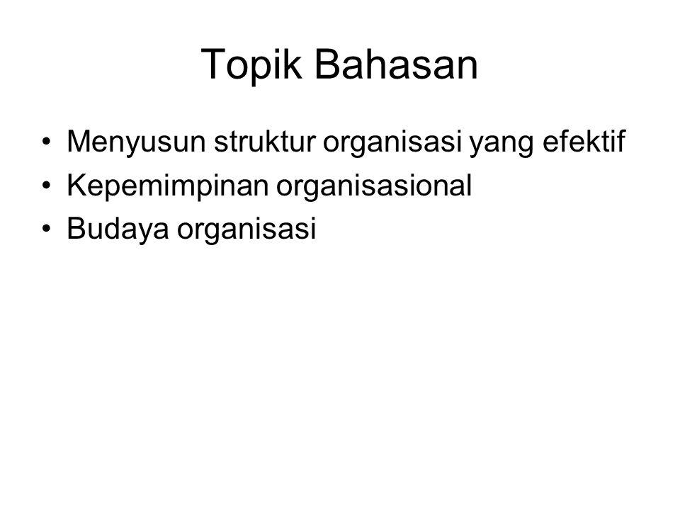 Topik Bahasan Menyusun struktur organisasi yang efektif Kepemimpinan organisasional Budaya organisasi