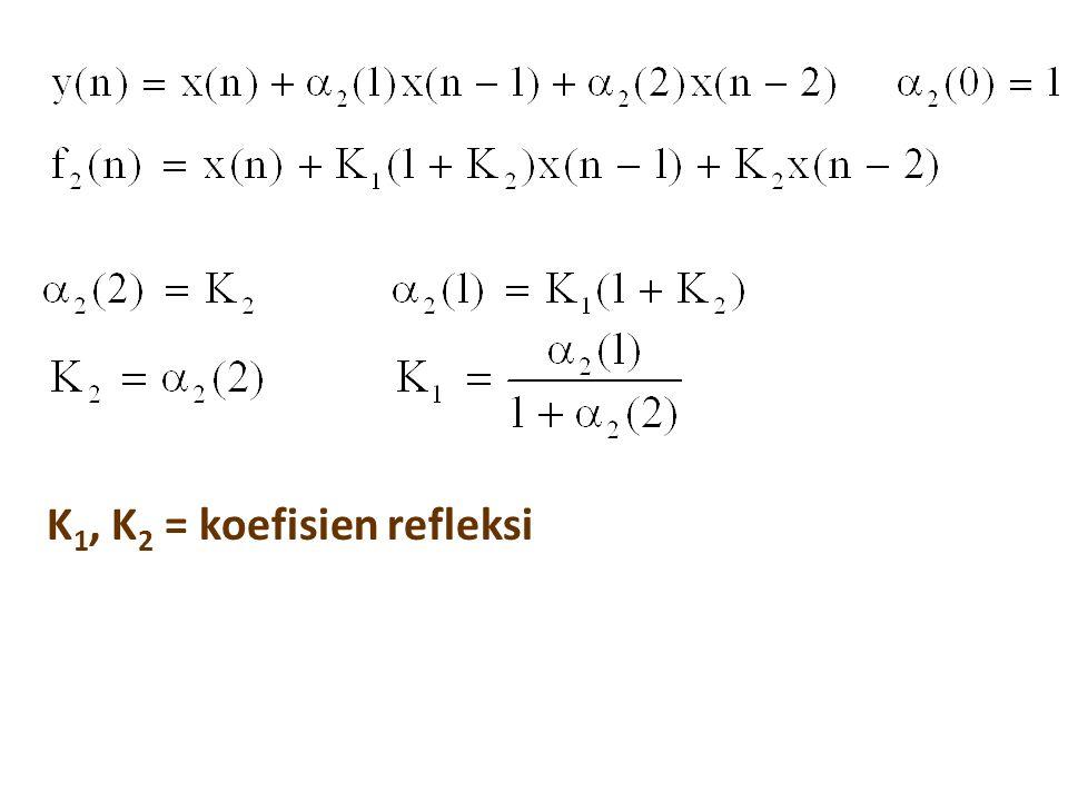 K 1, K 2 = koefisien refleksi