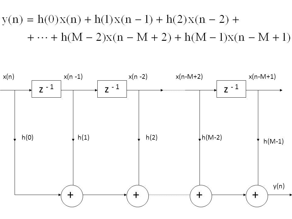 + z - 1 x(n) + x(n -1) z - 1 + x(n -2) h(0) h(1) h(2) z - 1 x(n-M+2) + h(M-2) h(M-1) x(n-M+1) y(n)