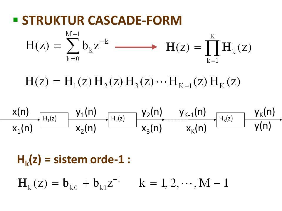  STRUKTUR CASCADE-FORM H 1 (z)H 2 (z)H K (z) x(n) x 1 (n) y 1 (n) x 2 (n) y 2 (n) x 3 (n) y K-1 (n) x K (n) y K (n) y(n) H k (z) = sistem orde-1 :
