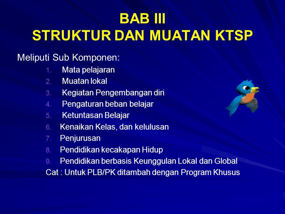 BAB III STRUKTUR DAN MUATAN KTSP Meliputi Sub Komponen: 1. 1. Mata pelajaran 2. 2. Muatan lokal 3. 3. Kegiatan Pengembangan diri 4. 4. Pengaturan beba