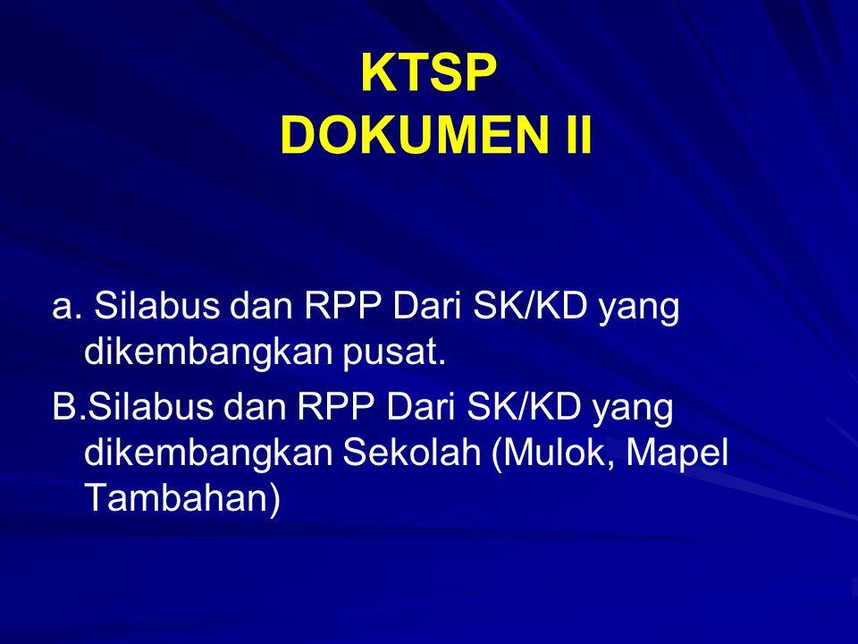 KTSP DOKUMEN II a. Silabus dan RPP Dari SK/KD yang dikembangkan pusat. B. B.Silabus dan RPP Dari SK/KD yang dikembangkan Sekolah (Mulok, Mapel Tambaha
