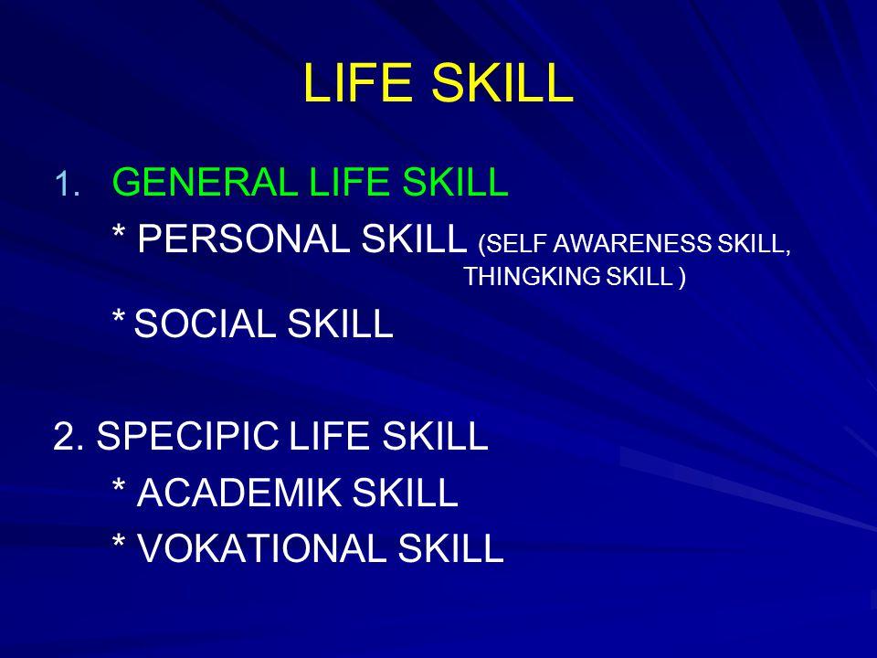 LIFE SKILL 1. 1. GENERAL LIFE SKILL * PERSONAL SKILL (SELF AWARENESS SKILL, THINGKING SKILL ) * SOCIAL SKILL 2. SPECIPIC LIFE SKILL * ACADEMIK SKILL *