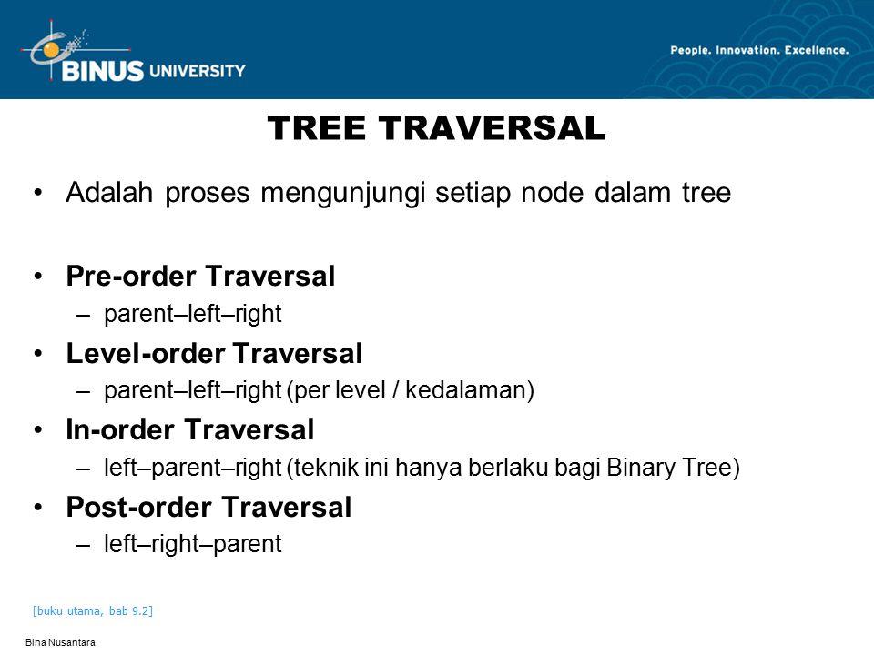 Bina Nusantara TREE TRAVERSAL Adalah proses mengunjungi setiap node dalam tree Pre-order Traversal –parent–left–right Level-order Traversal –parent–le