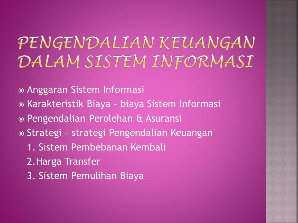  Anggaran Sistem Informasi  Karakteristik Biaya – biaya Sistem Informasi  Pengendalian Perolehan & Asuransi  Strategi – strategi Pengendalian Keuangan 1.