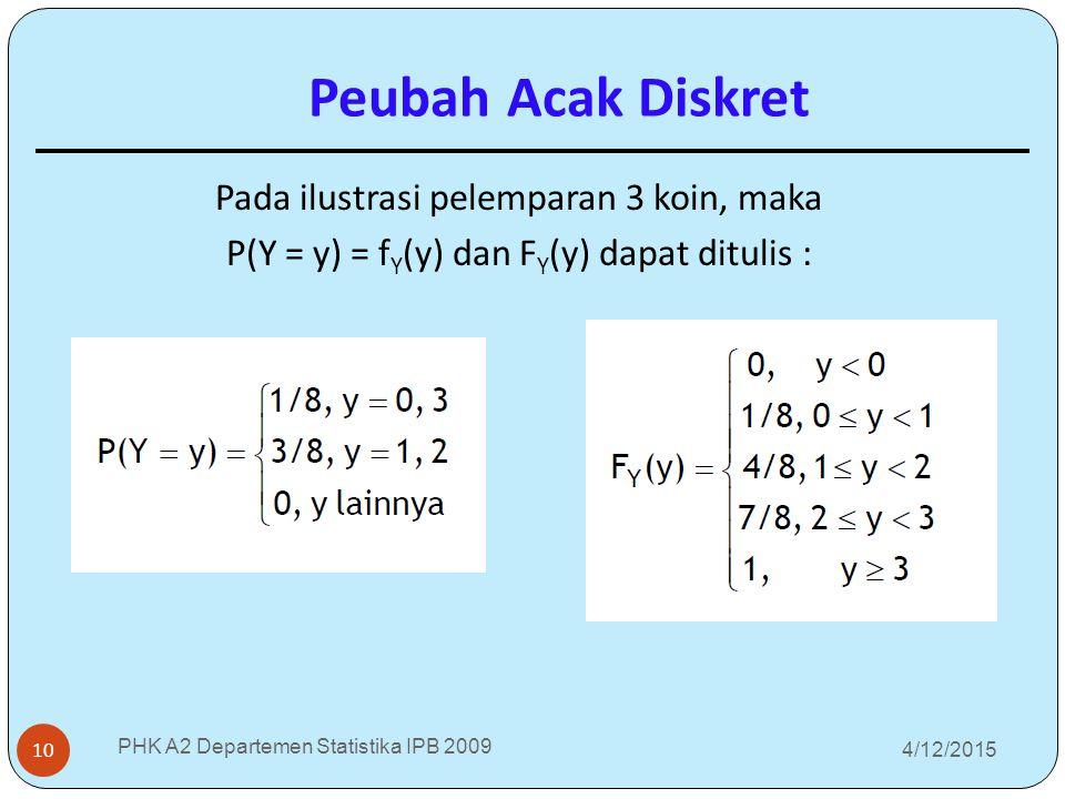 4/12/2015 PHK A2 Departemen Statistika IPB 2009 10 Pada ilustrasi pelemparan 3 koin, maka P(Y = y) = f Y (y) dan F Y (y) dapat ditulis : Peubah Acak D