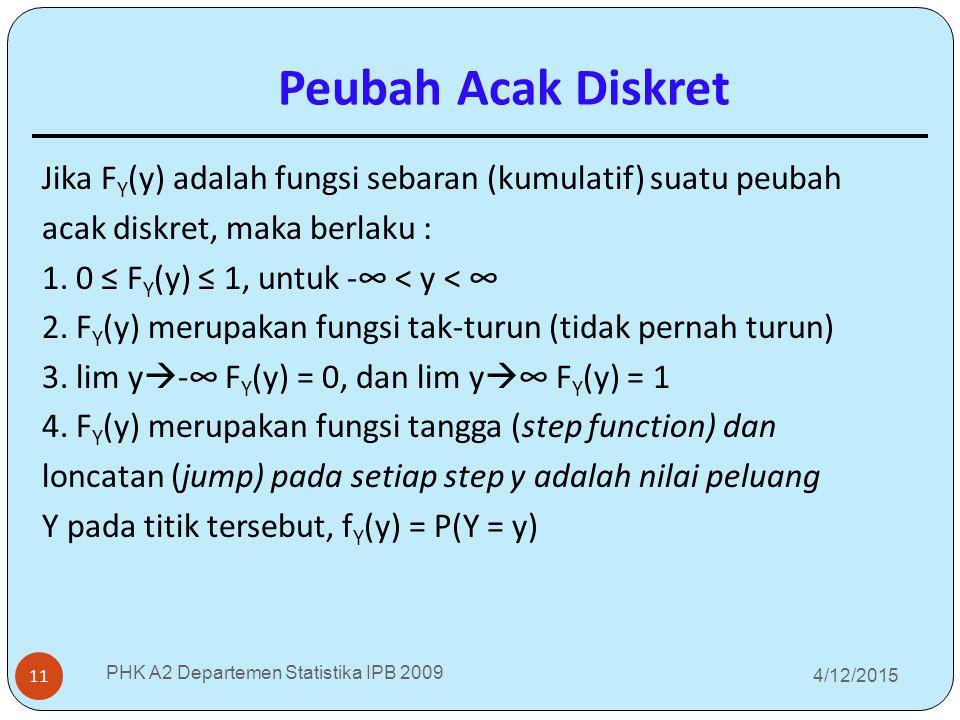 4/12/2015 PHK A2 Departemen Statistika IPB 2009 11 Jika F Y (y) adalah fungsi sebaran (kumulatif) suatu peubah acak diskret, maka berlaku : 1. 0 ≤ F Y