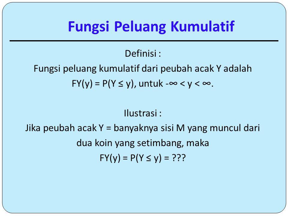 Fungsi Peluang Kumulatif Definisi : Fungsi peluang kumulatif dari peubah acak Y adalah FY(y) = P(Y ≤ y), untuk -∞ < y < ∞. Ilustrasi : Jika peubah aca