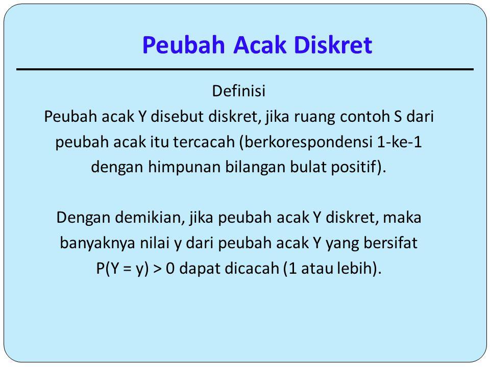 Definisi Peubah acak Y disebut diskret, jika ruang contoh S dari peubah acak itu tercacah (berkorespondensi 1-ke-1 dengan himpunan bilangan bulat posi