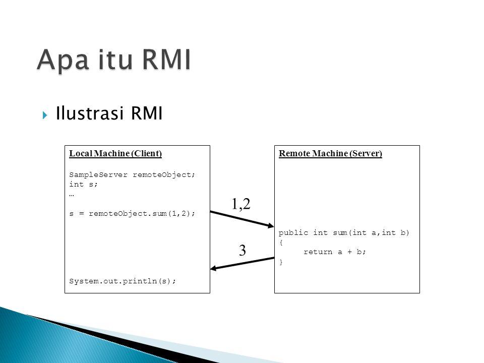  Aplikasi RMI sering terbagi menjadi dua bagian: server dan client.