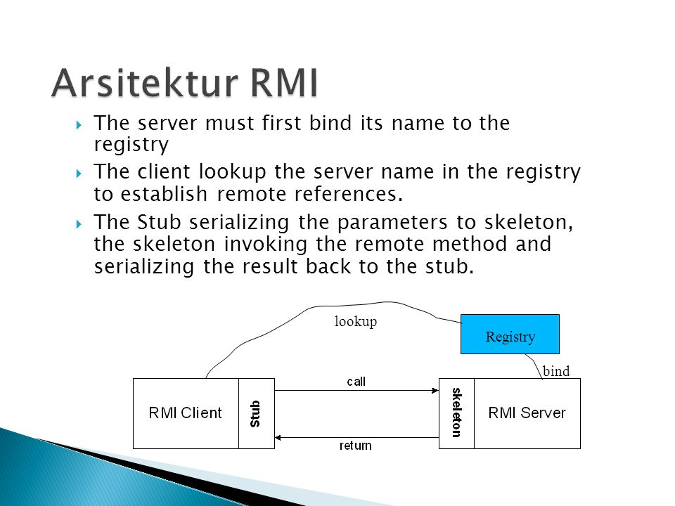  A client invokes a remote method, the call is first forwarded to stub.
