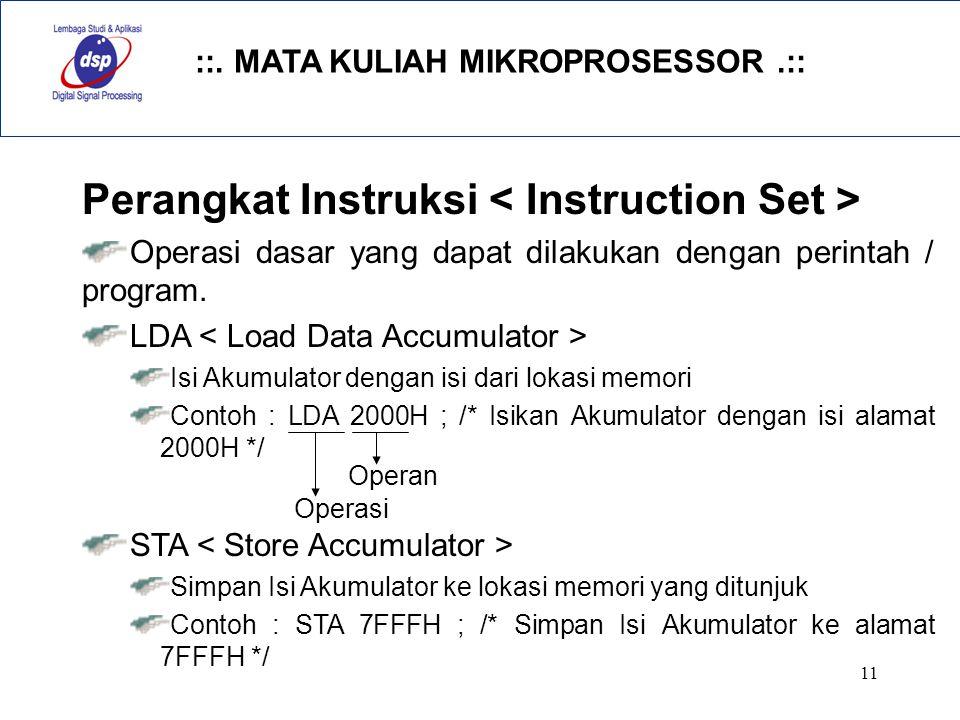 ::. MATA KULIAH MIKROPROSESSOR.:: 11 Perangkat Instruksi Operasi dasar yang dapat dilakukan dengan perintah / program. LDA Isi Akumulator dengan isi d