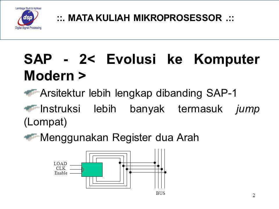 ::. MATA KULIAH MIKROPROSESSOR.:: 2 SAP - 2 Arsitektur lebih lengkap dibanding SAP-1 Instruksi lebih banyak termasuk jump (Lompat) Menggunakan Registe