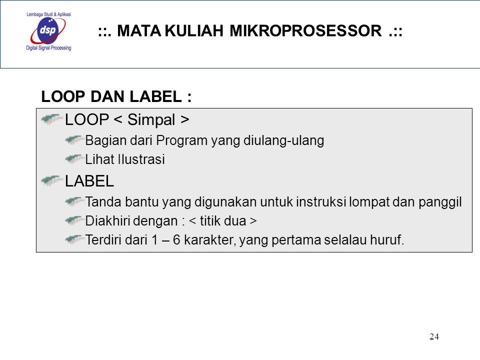 ::. MATA KULIAH MIKROPROSESSOR.:: 24 LOOP DAN LABEL : LOOP Bagian dari Program yang diulang-ulang Lihat Ilustrasi LABEL Tanda bantu yang digunakan unt