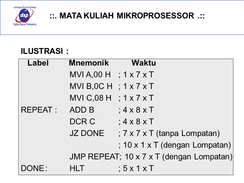 ::. MATA KULIAH MIKROPROSESSOR.:: 31 ILUSTRASI : Label Mnemonik Waktu MVI A,00 H; 1 x 7 x T MVI B,0C H ; 1 x 7 x T MVI C,08 H; 1 x 7 x T REPEAT :ADD B