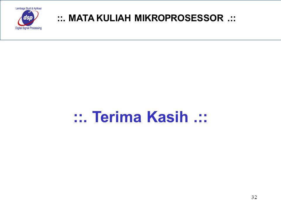 ::. MATA KULIAH MIKROPROSESSOR.:: 32 ::. Terima Kasih.::