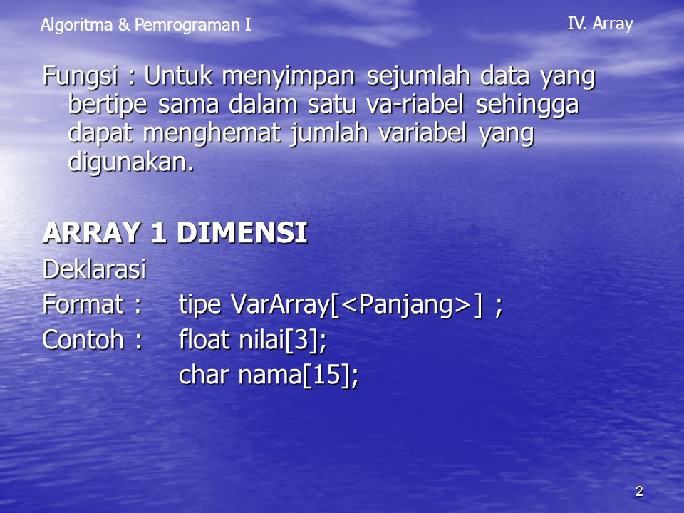 Algoritma & Pemrograman I IV.