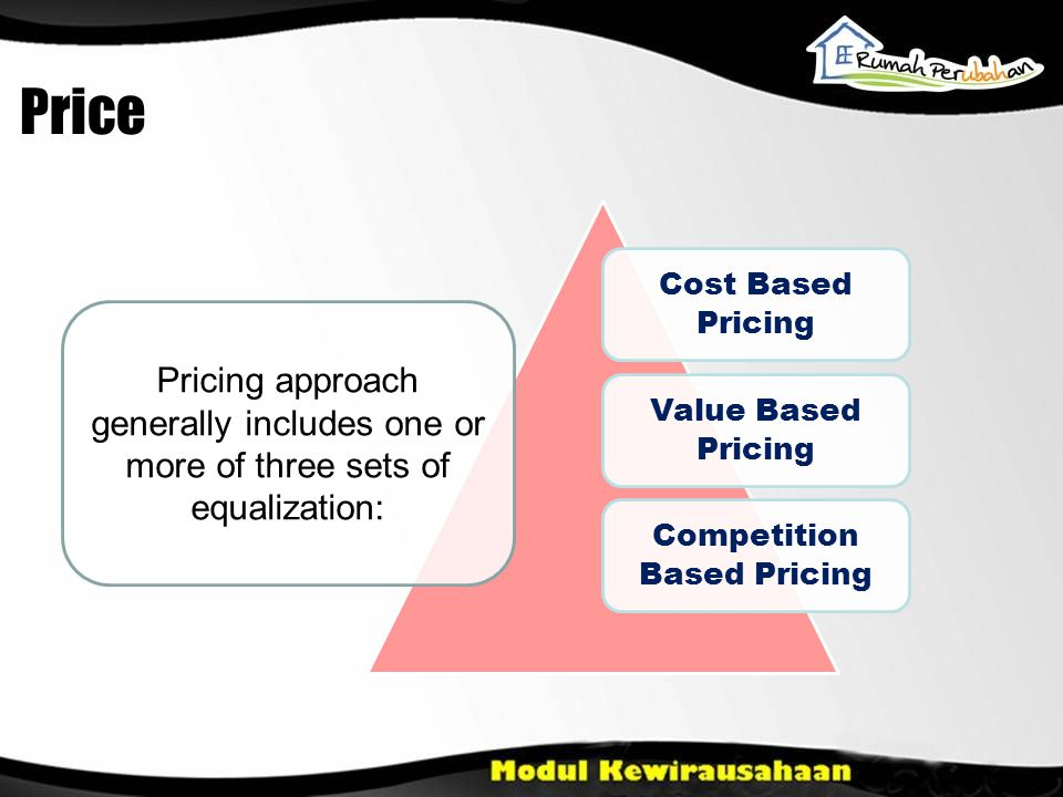 Cost Based Pricing Value Based Pricing Competition Based Pricing Pricing approach generally includes one or more of three sets of equalization: Price