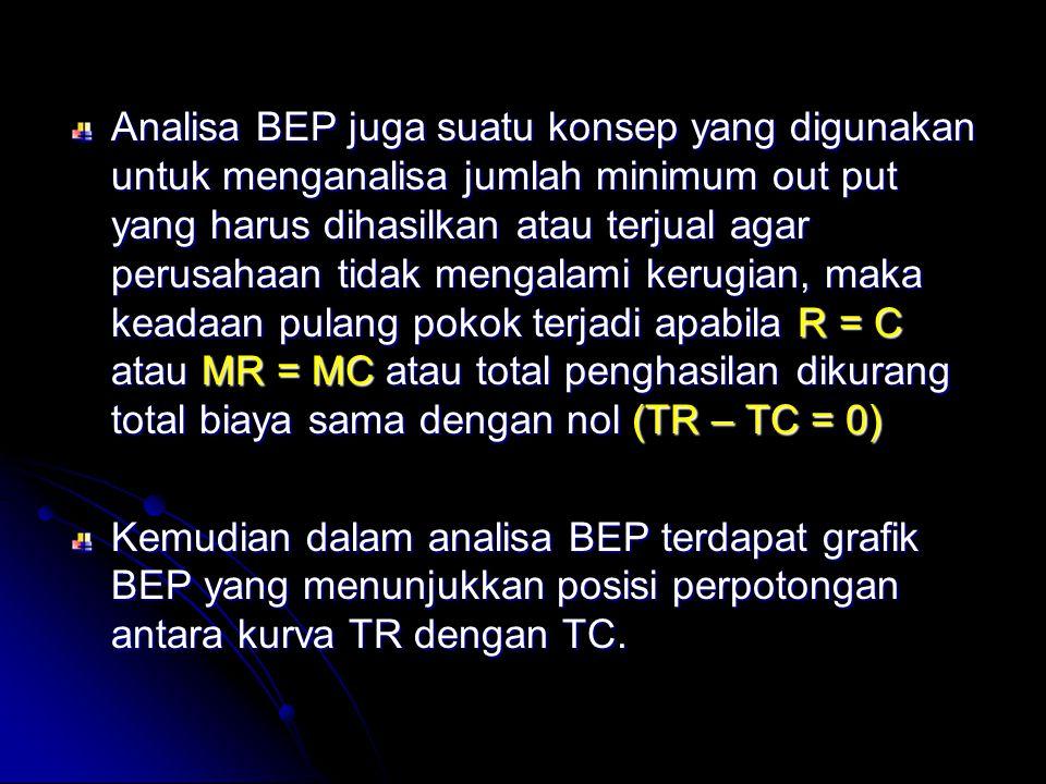 Analisa BEP juga suatu konsep yang digunakan untuk menganalisa jumlah minimum out put yang harus dihasilkan atau terjual agar perusahaan tidak mengala
