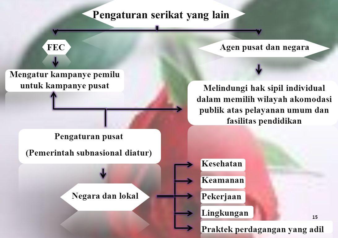 Pengaturan serikat yang lain FEC Agen pusat dan negara Melindungi hak sipil individual dalam memilih wilayah akomodasi publik atas pelayanan umum dan