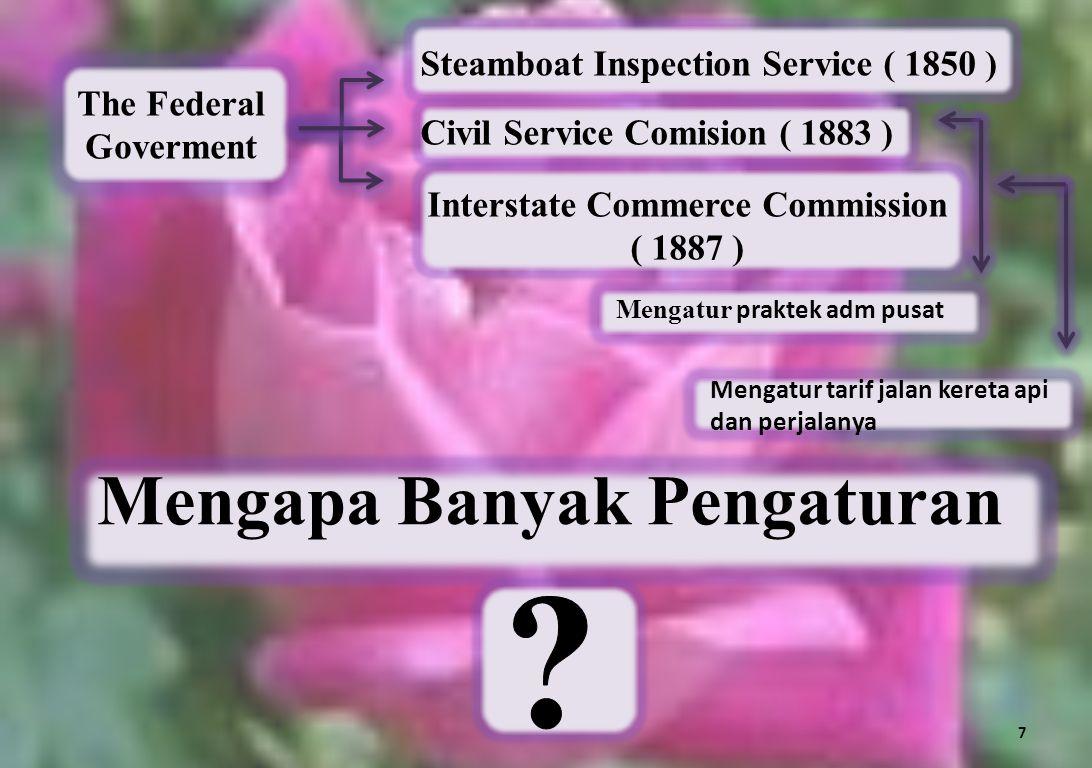The Federal Goverment Steamboat Inspection Service ( 1850 ) Civil Service Comision ( 1883 ) Mengatur tarif jalan kereta api dan perjalanya Mengatur pr