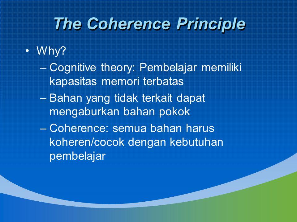 The Coherence Principle Why? –Cognitive theory: Pembelajar memiliki kapasitas memori terbatas –Bahan yang tidak terkait dapat mengaburkan bahan pokok